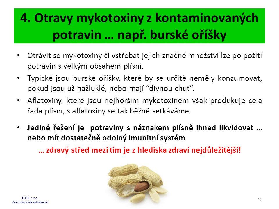 4. Otravy mykotoxiny z kontaminovaných potravin … např. burské oříšky