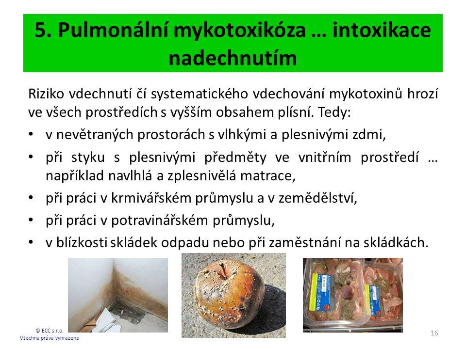5. Pulmonální mykotoxikóza … intoxikace nadechnutím