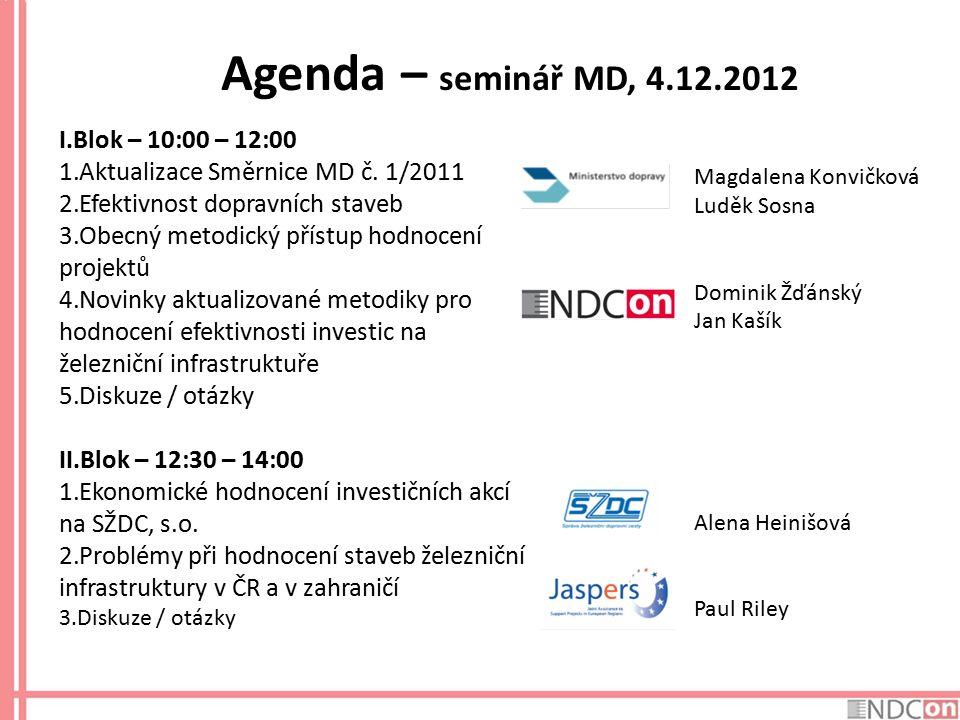 Agenda – seminář MD, 4.12.2012 I.Blok – 10:00 – 12:00