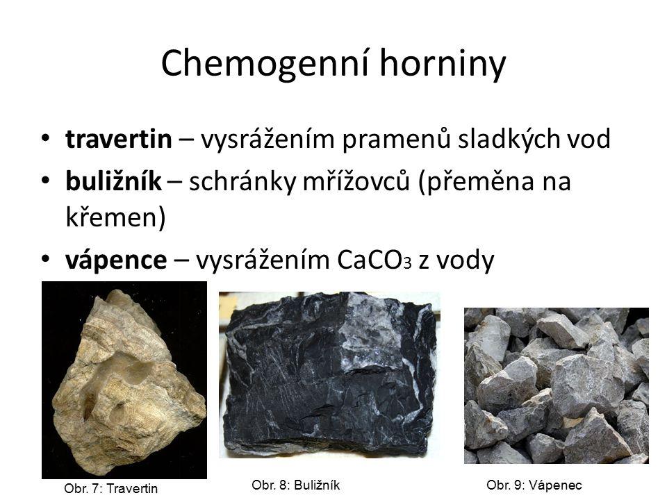 Chemogenní horniny travertin – vysrážením pramenů sladkých vod