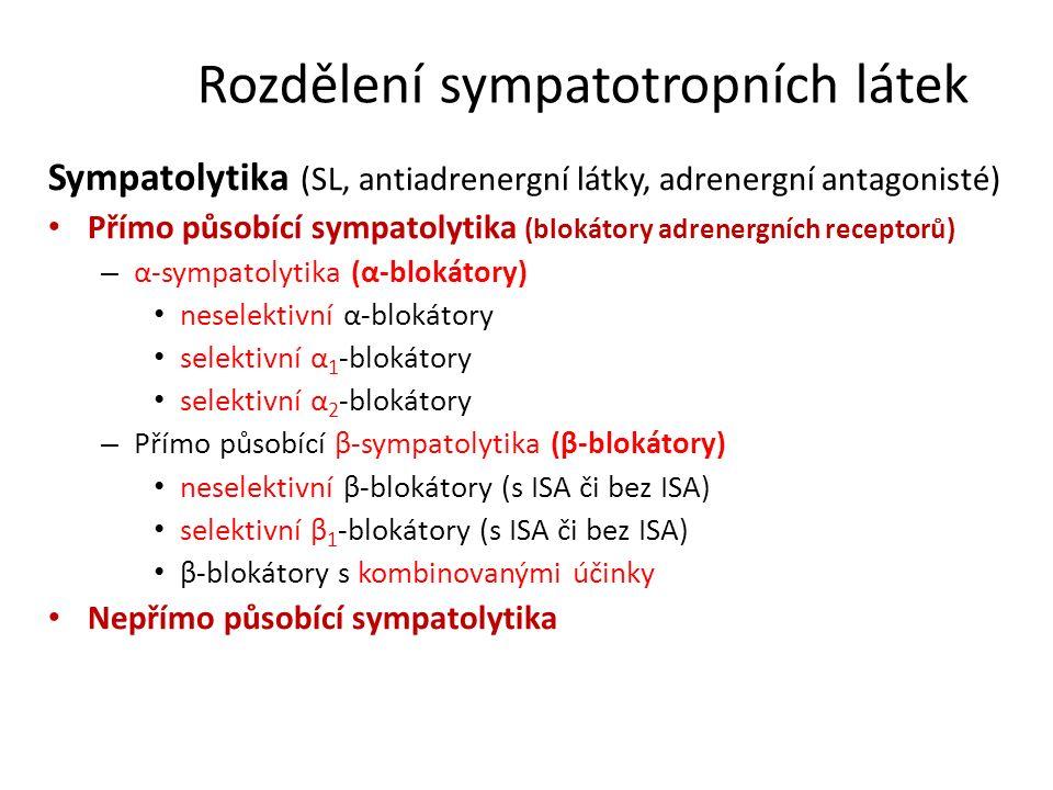 Rozdělení sympatotropních látek