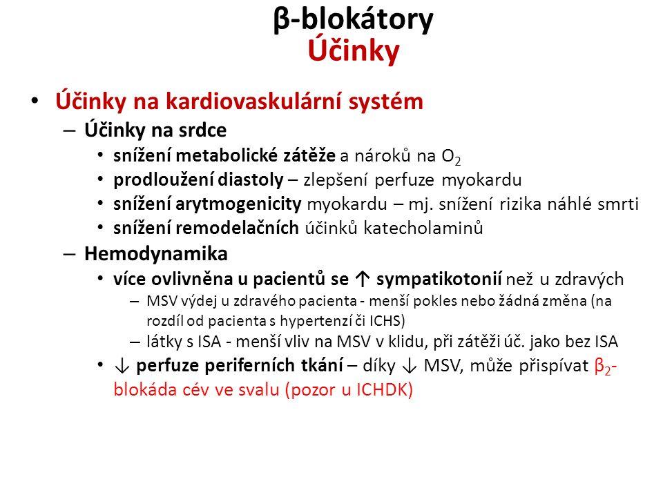 β-blokátory Účinky Účinky na kardiovaskulární systém Účinky na srdce