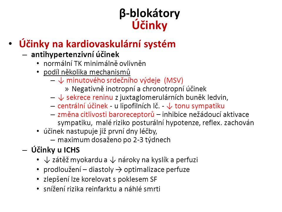 β-blokátory Účinky Účinky na kardiovaskulární systém
