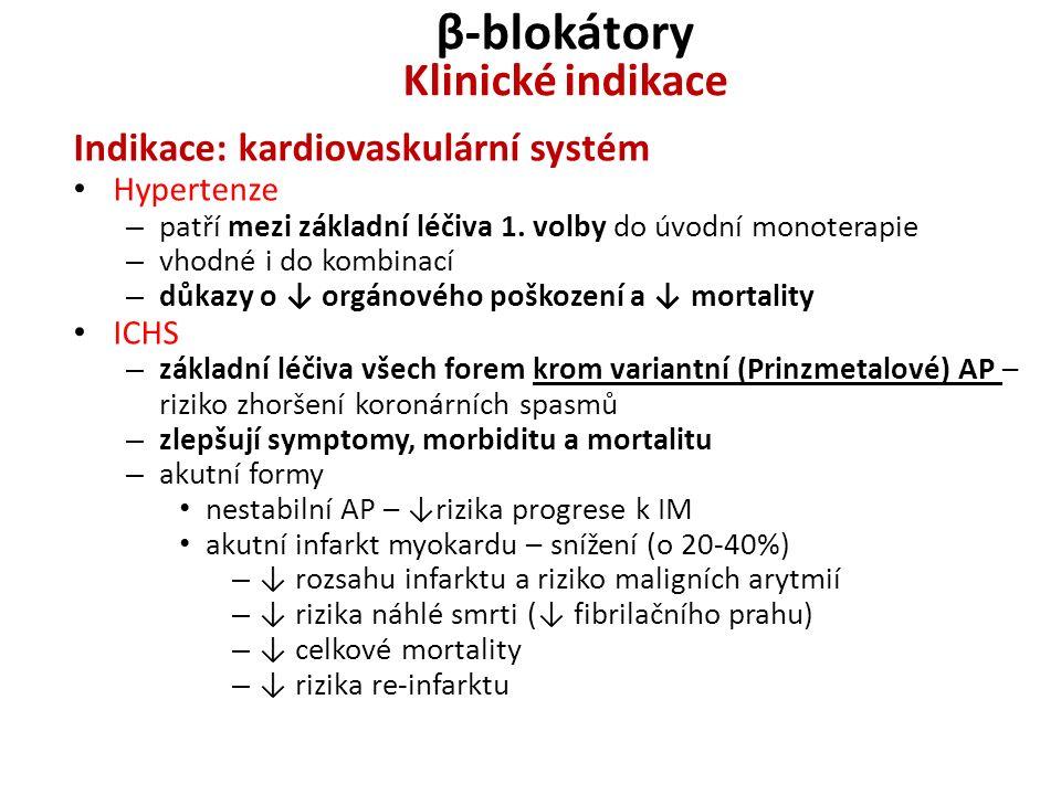 β-blokátory Klinické indikace