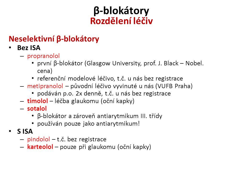 β-blokátory Rozdělení léčiv