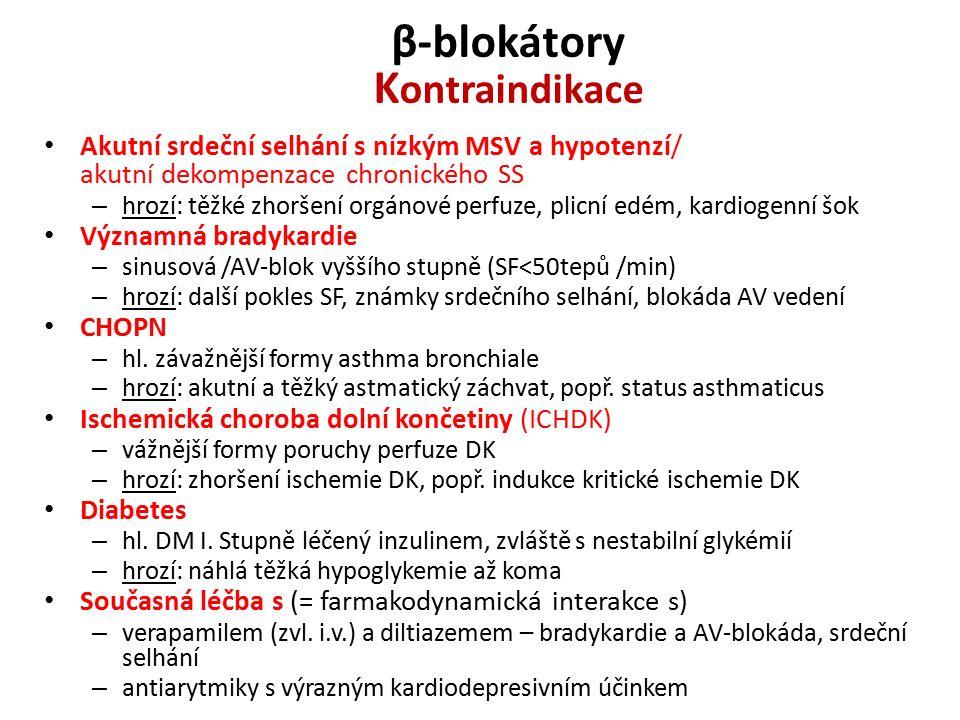 β-blokátory Kontraindikace