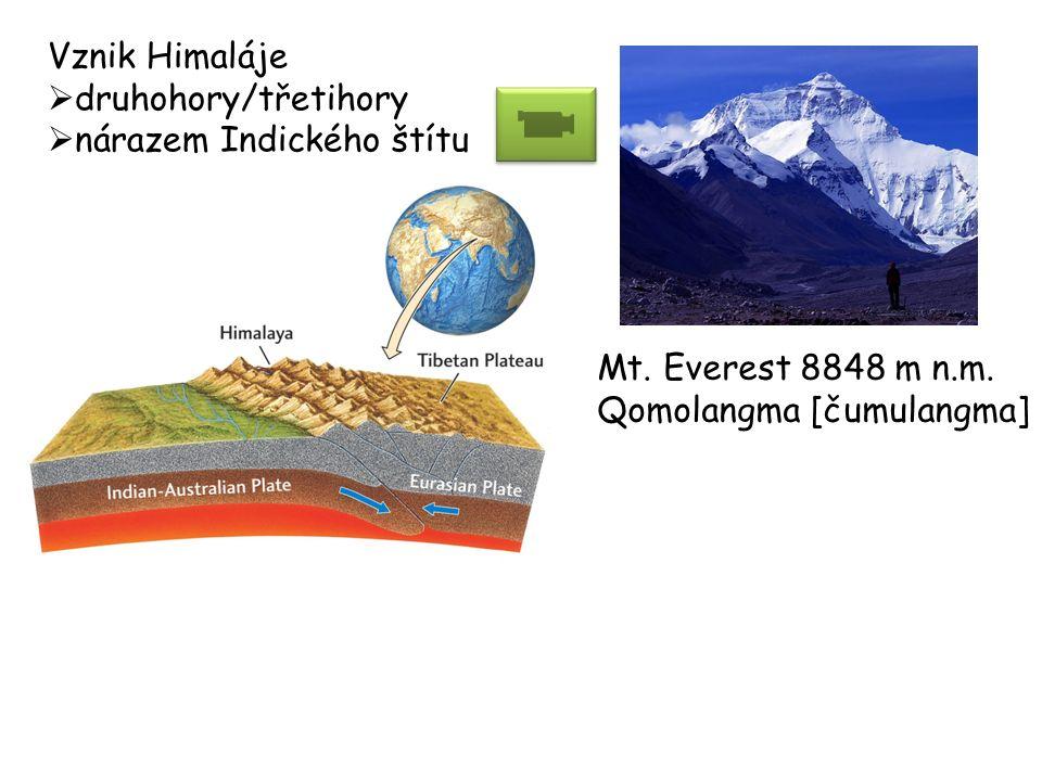 Vznik Himaláje druhohory/třetihory. nárazem Indického štítu.