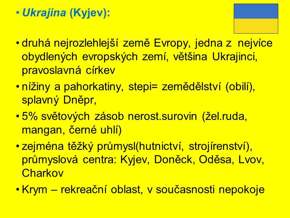 Ukrajina (Kyjev): druhá nejrozlehlejší země Evropy, jedna z nejvíce obydlených evropských zemí, většina Ukrajinci, pravoslavná církev.