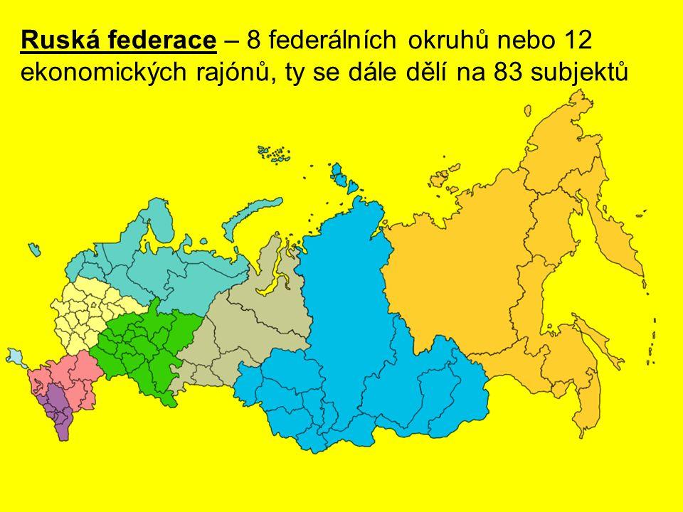 Ruská federace – 8 federálních okruhů nebo 12 ekonomických rajónů, ty se dále dělí na 83 subjektů
