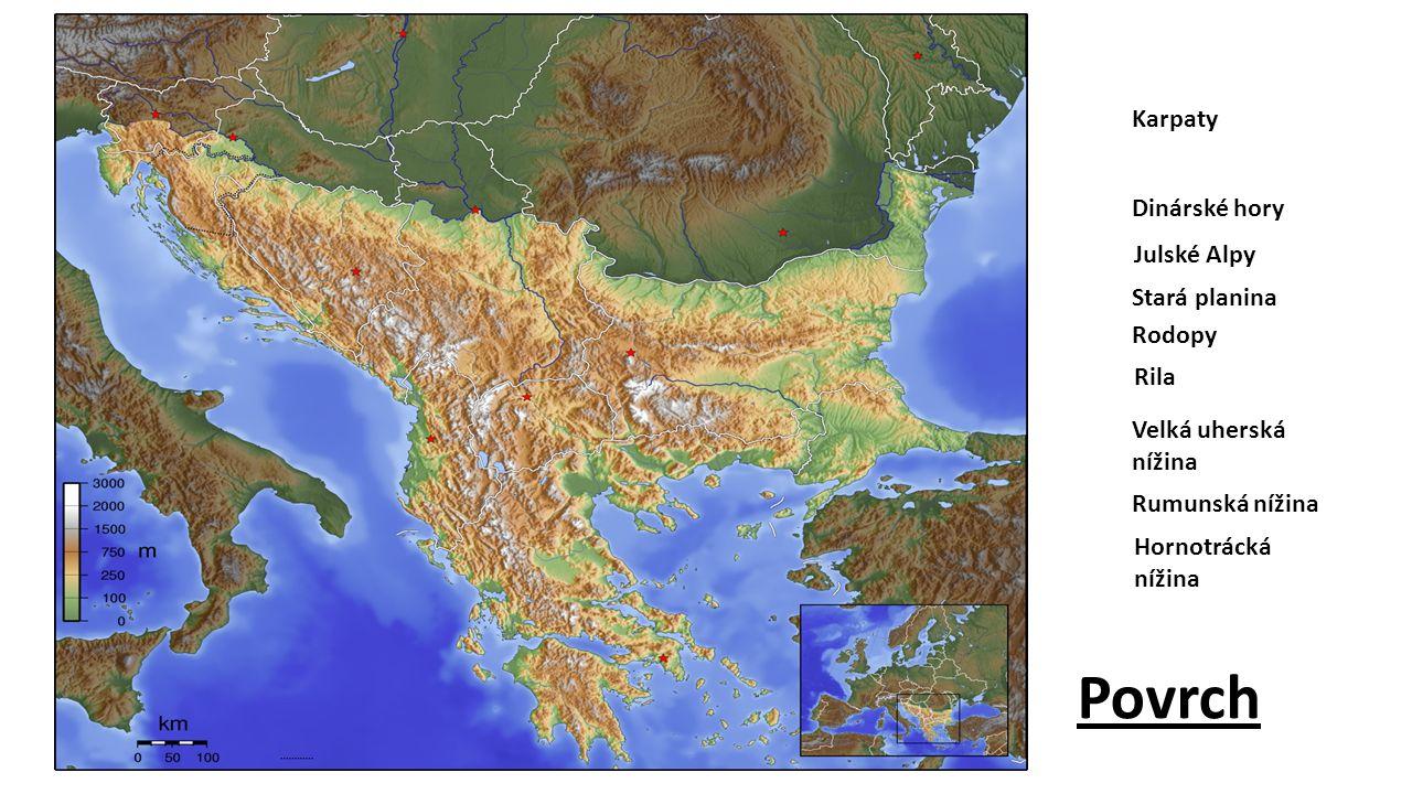 Povrch Karpaty Dinárské hory Julské Alpy Stará planina Rodopy Rila