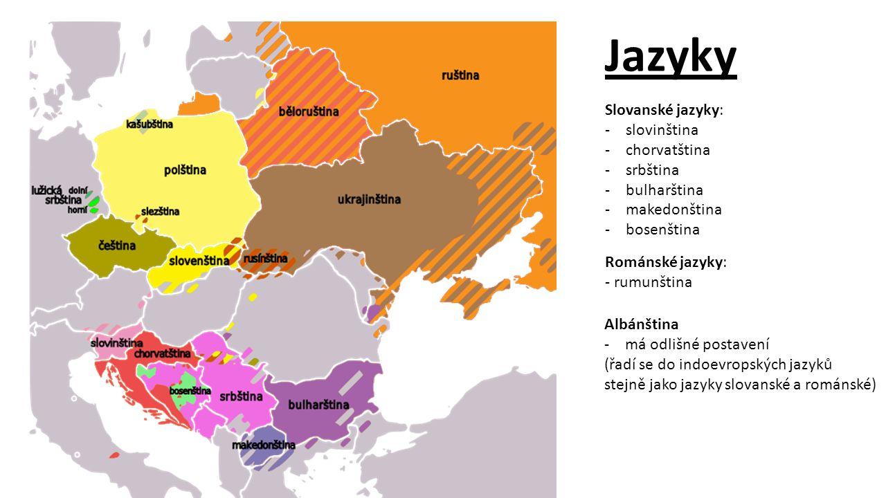 Jazyky Slovanské jazyky: slovinština chorvatština srbština bulharština