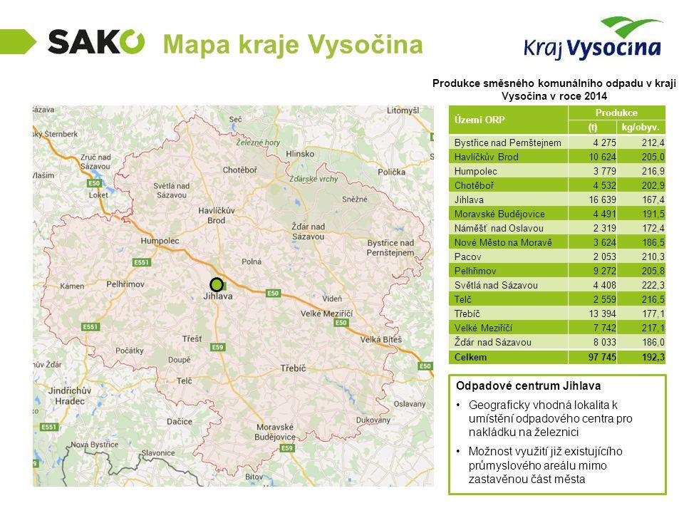 Produkce směsného komunálního odpadu v kraji Vysočina v roce 2014