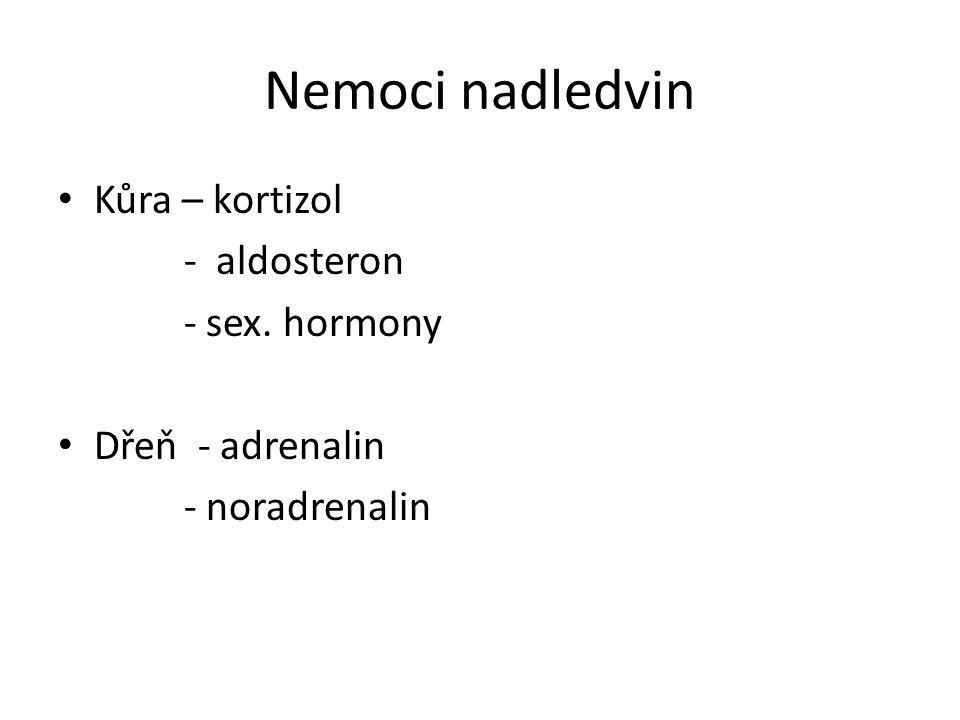Nemoci nadledvin Kůra – kortizol - aldosteron - sex. hormony
