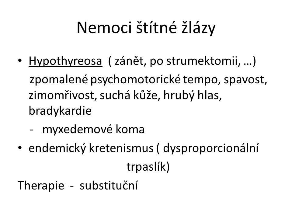 Nemoci štítné žlázy Hypothyreosa ( zánět, po strumektomii, …)
