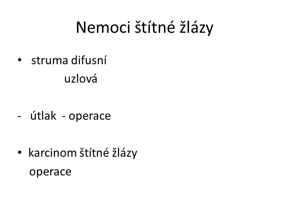 Nemoci štítné žlázy struma difusní uzlová - útlak - operace