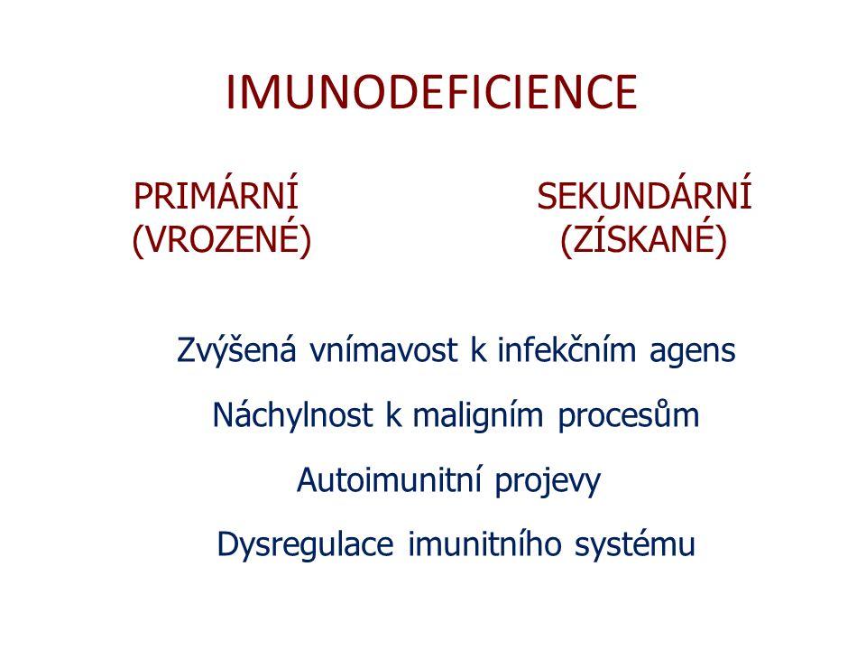 IMUNODEFICIENCE PRIMÁRNÍ (VROZENÉ) SEKUNDÁRNÍ (ZÍSKANÉ)