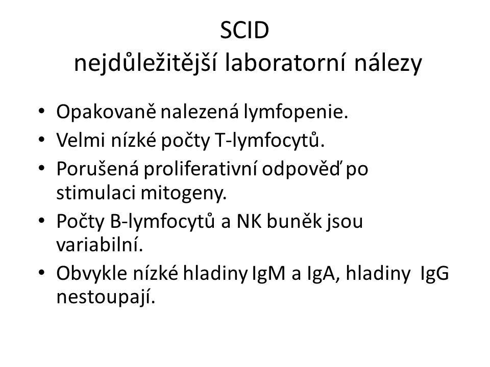 SCID nejdůležitější laboratorní nálezy