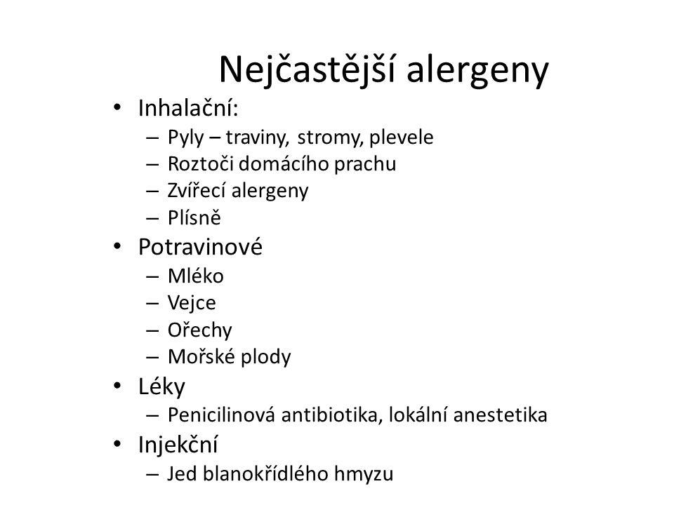 Nejčastější alergeny Inhalační: Potravinové Léky Injekční