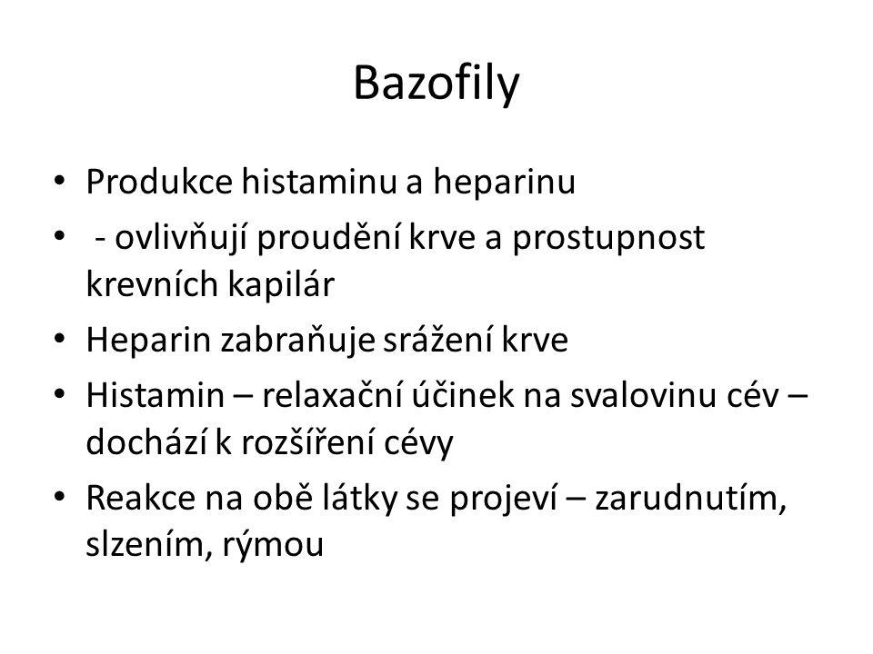 Bazofily Produkce histaminu a heparinu