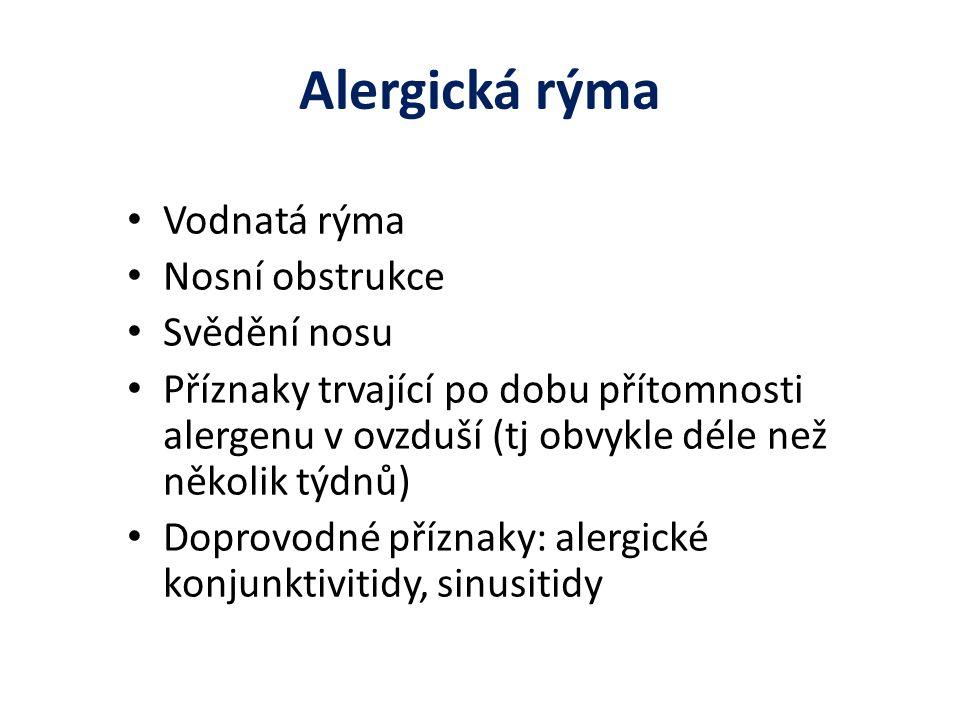 Alergická rýma Vodnatá rýma Nosní obstrukce Svědění nosu