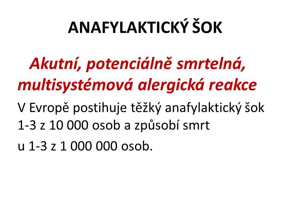 Akutní, potenciálně smrtelná, multisystémová alergická reakce