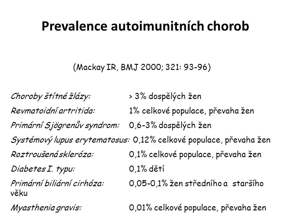 Prevalence autoimunitních chorob
