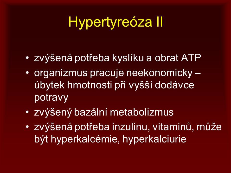 Hypertyreóza II zvýšená potřeba kyslíku a obrat ATP