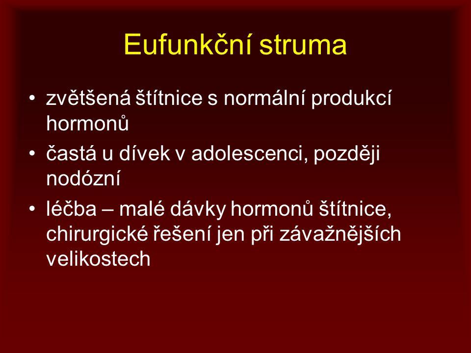 Eufunkční struma zvětšená štítnice s normální produkcí hormonů