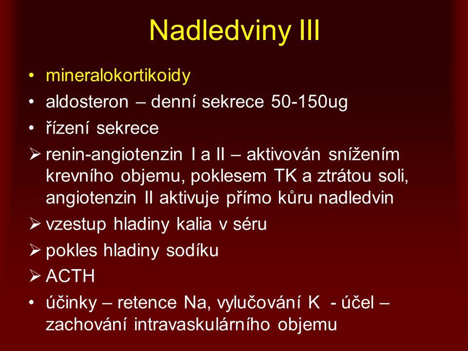 Nadledviny III mineralokortikoidy aldosteron – denní sekrece 50-150ug