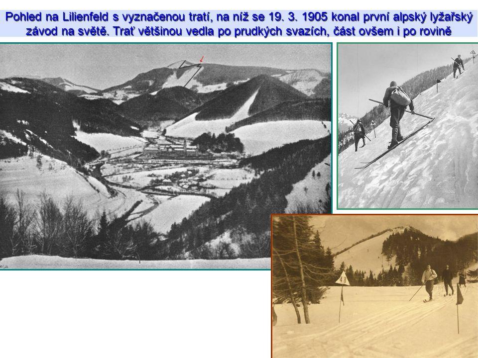 Pohled na Lilienfeld s vyznačenou tratí, na níž se 19. 3