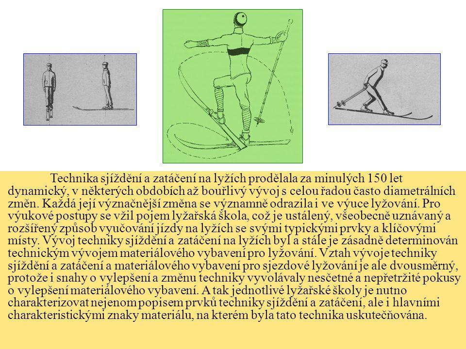 Technika sjíždění a zatáčení na lyžích prodělala za minulých 150 let dynamický, v některých obdobích až bouřlivý vývoj s celou řadou často diametrálních změn.