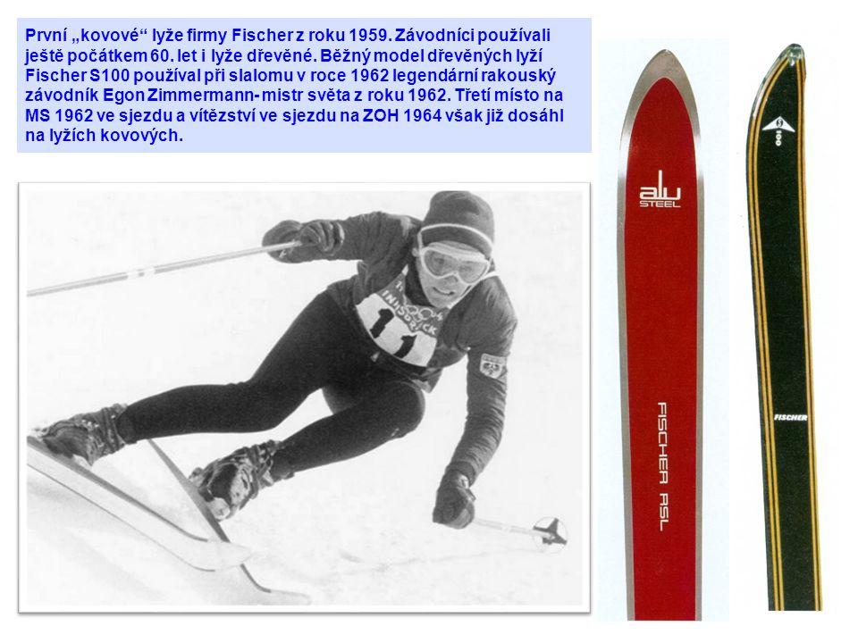 """První """"kovové lyže firmy Fischer z roku 1959"""