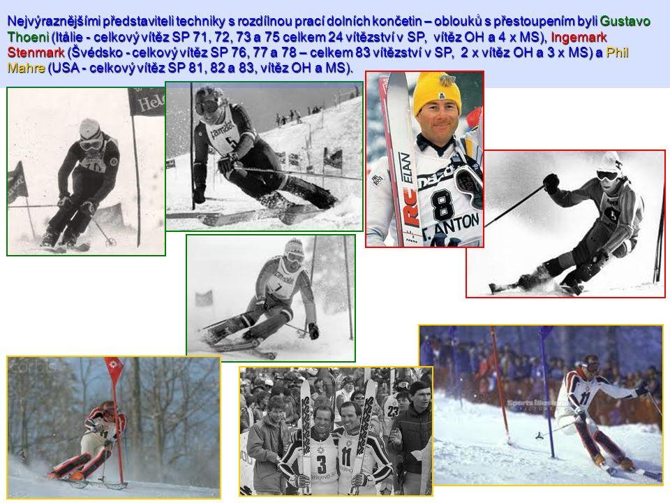 Nejvýraznějšími představiteli techniky s rozdílnou prací dolních končetin – oblouků s přestoupením byli Gustavo Thoeni (Itálie - celkový vítěz SP 71, 72, 73 a 75 celkem 24 vítězství v SP, vítěz OH a 4 x MS), Ingemark Stenmark (Švédsko - celkový vítěz SP 76, 77 a 78 – celkem 83 vítězství v SP, 2 x vítěz OH a 3 x MS) a Phil Mahre (USA - celkový vítěz SP 81, 82 a 83, vítěz OH a MS).