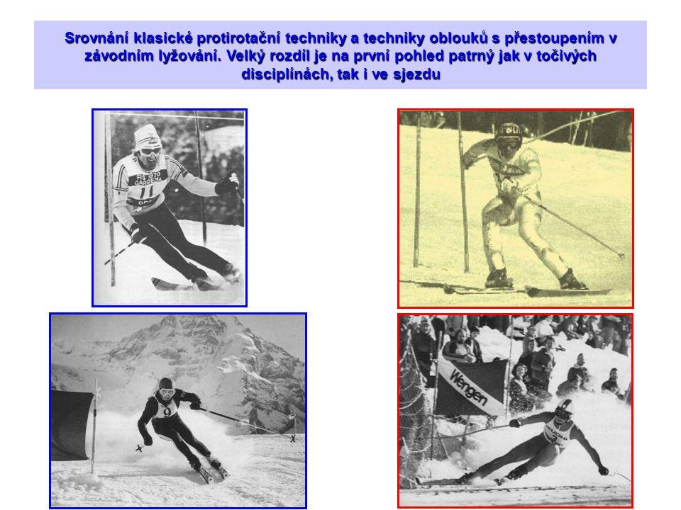 Srovnání klasické protirotační techniky a techniky oblouků s přestoupením v závodním lyžování.
