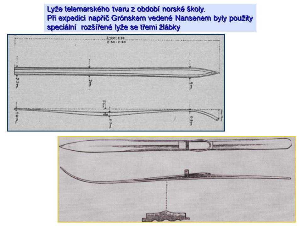 Lyže telemarského tvaru z období norské školy