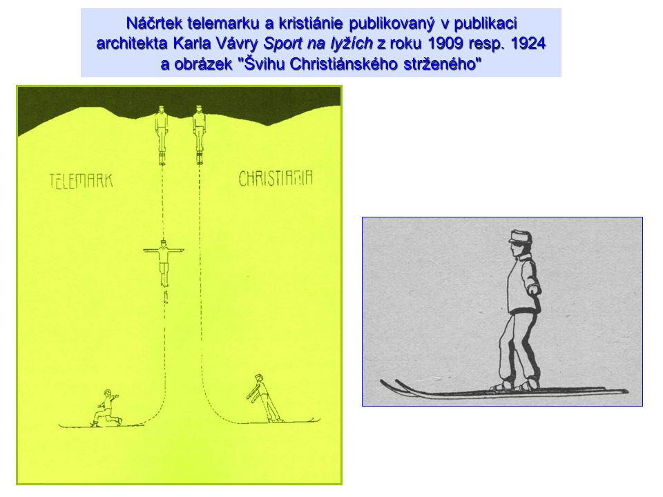 Náčrtek telemarku a kristiánie publikovaný v publikaci architekta Karla Vávry Sport na lyžích z roku 1909 resp.