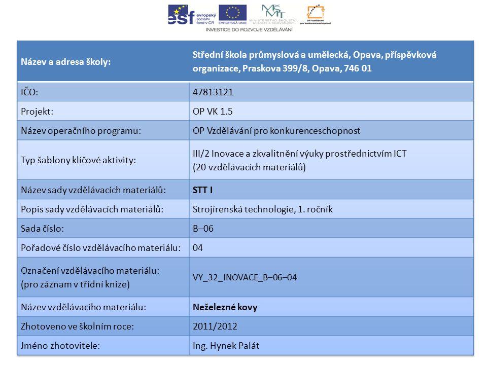 Název operačního programu: OP Vzdělávání pro konkurenceschopnost