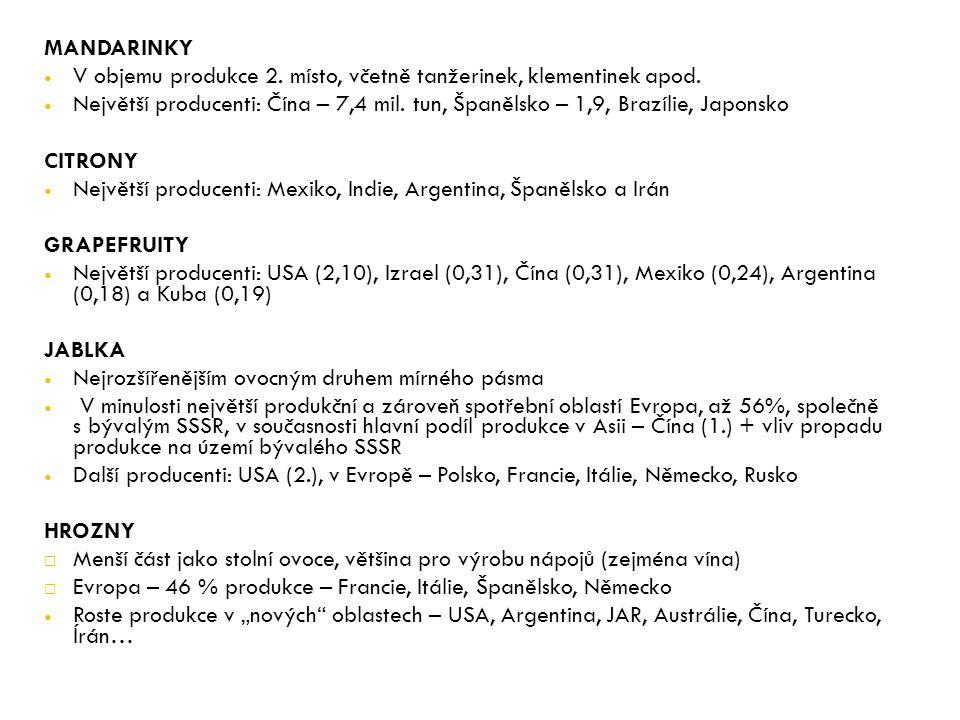 MANDARINKY V objemu produkce 2. místo, včetně tanžerinek, klementinek apod.