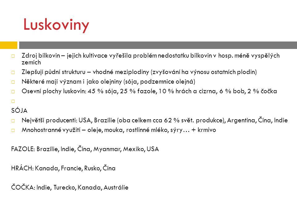 Luskoviny Zdroj bílkovin – jejich kultivace vyřešila problém nedostatku bílkovin v hosp. méně vyspělých zemích.