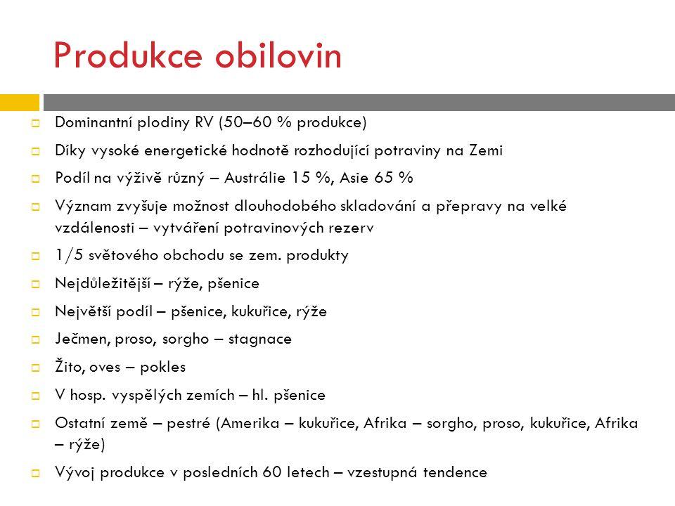 Produkce obilovin Dominantní plodiny RV (50–60 % produkce)
