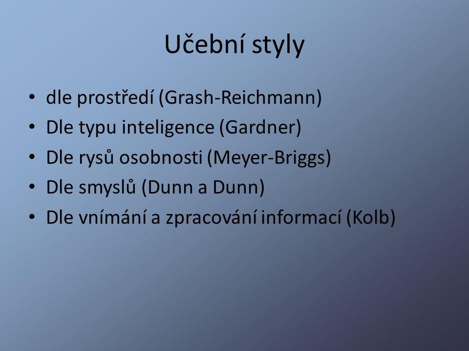 Učební styly dle prostředí (Grash-Reichmann)