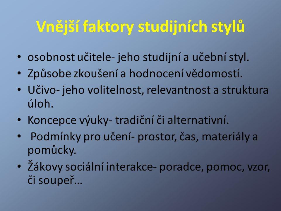 Vnější faktory studijních stylů