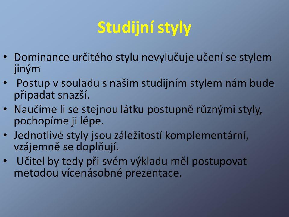 Studijní styly Dominance určitého stylu nevylučuje učení se stylem jiným. Postup v souladu s našim studijním stylem nám bude připadat snazší.