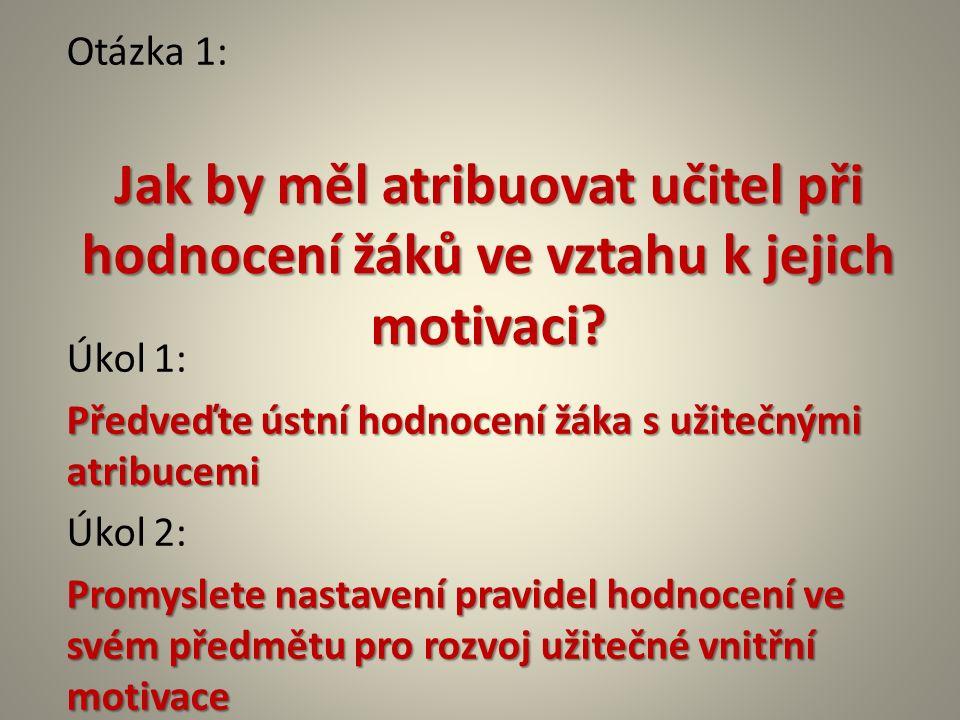 Otázka 1: Úkol 1: Předveďte ústní hodnocení žáka s užitečnými atribucemi Úkol 2: Promyslete nastavení pravidel hodnocení ve svém předmětu pro rozvoj užitečné vnitřní motivace