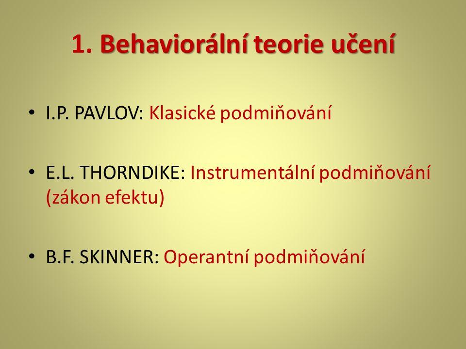 1. Behaviorální teorie učení