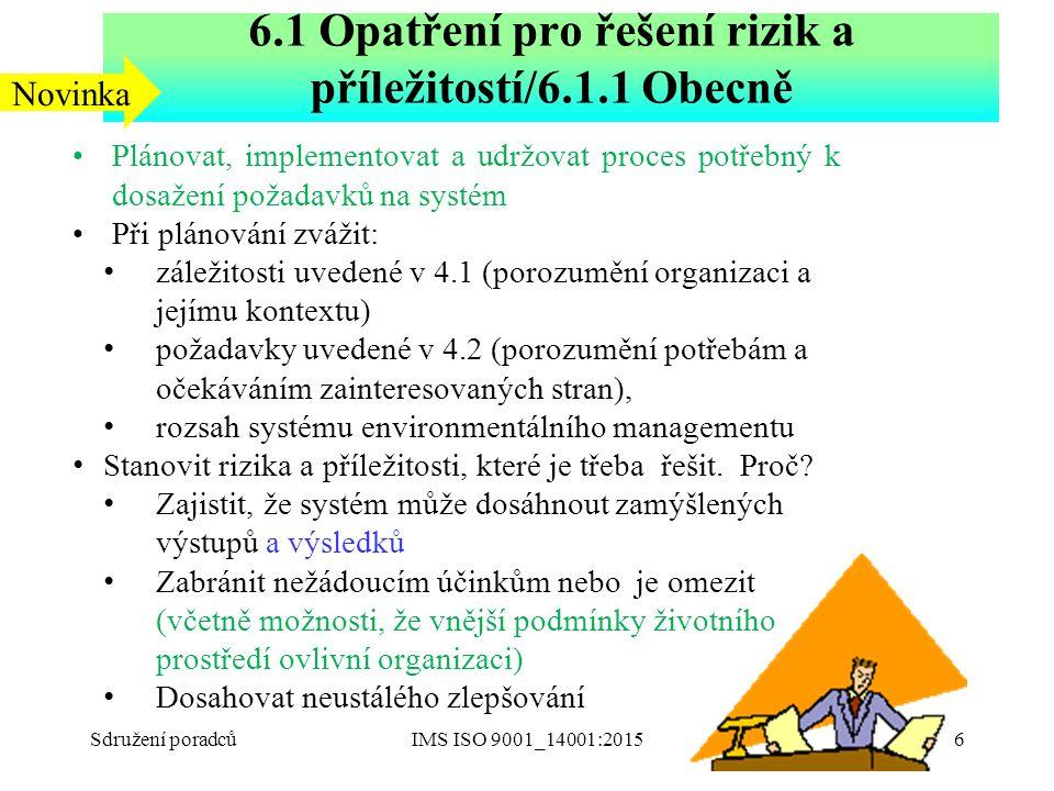 6.1 Opatření pro řešení rizik a příležitostí/6.1.1 Obecně