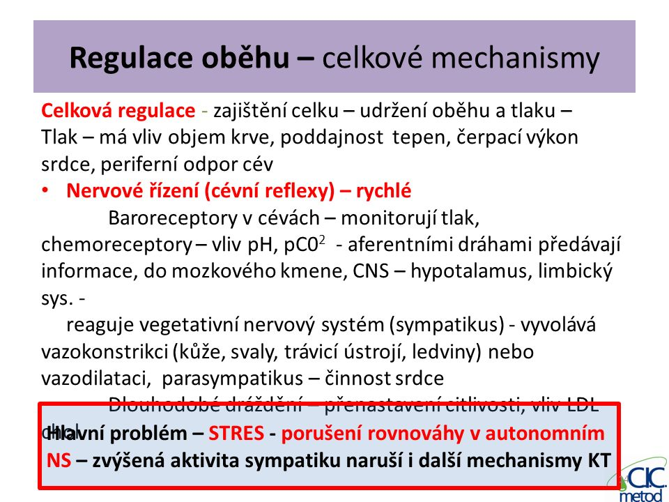 Regulace oběhu – celkové mechanismy