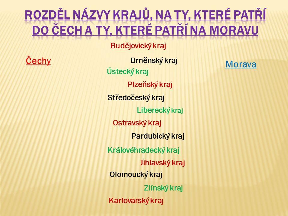 Rozděl názvy krajů, na ty, které patří do Čech a ty, které patří na Moravu