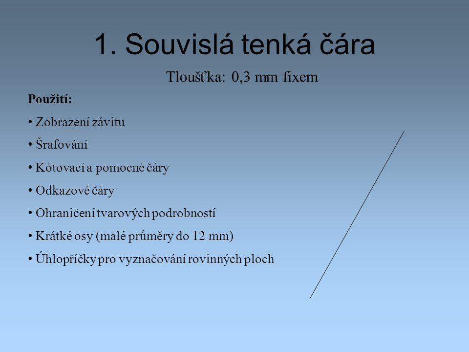 1. Souvislá tenká čára Tloušťka: 0,3 mm fixem Použití: