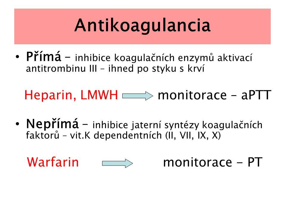 Antikoagulancia Přímá – inhibice koagulačních enzymů aktivací antitrombinu III – ihned po styku s krví.